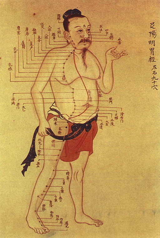 An old Chinese medical chart on acupuncture meridians